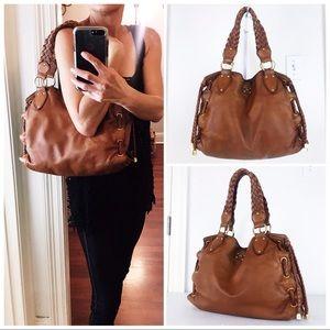 MK Distressed Cognac Tan Leather Tote Shoulder Bag